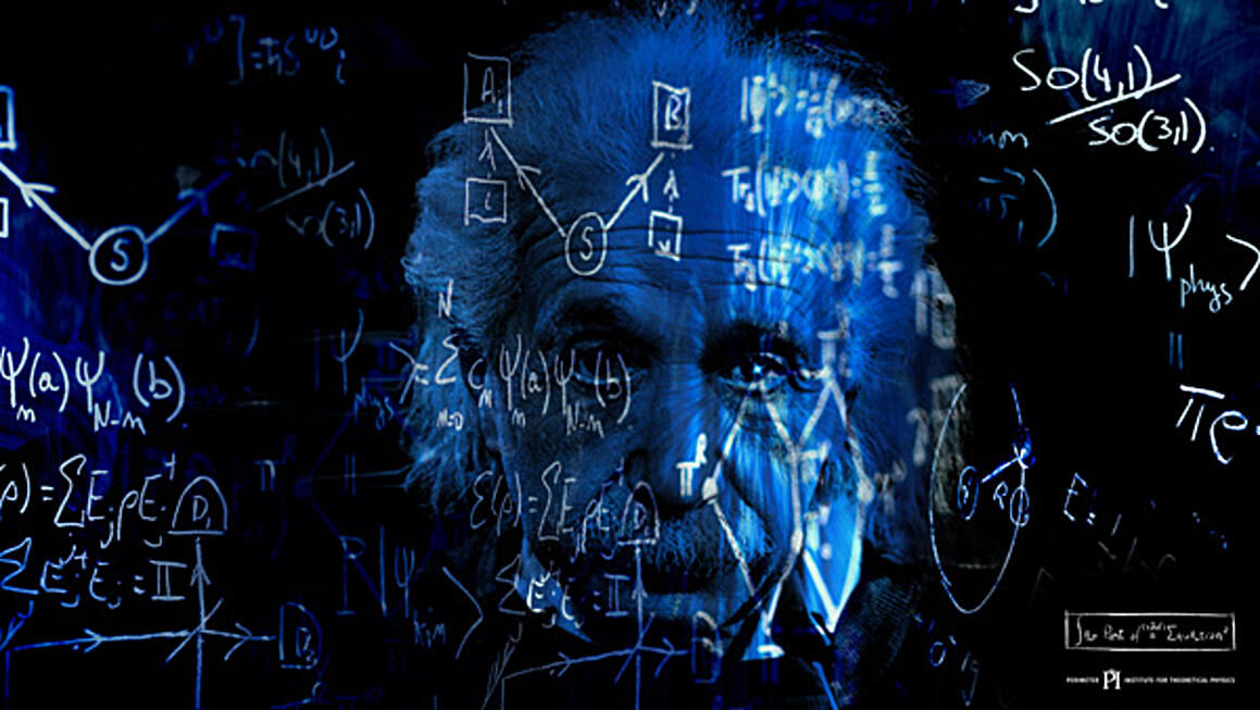 Albert Einstein's face superimposed on a blackboard with equations