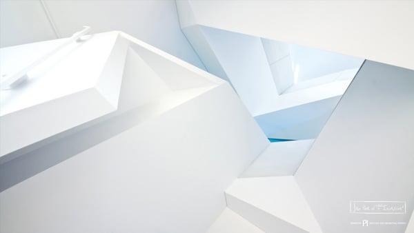 White, grey and blue architecture of Perimeter Institute